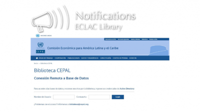 Login Page of EZProxy Platform - ECLAC Library