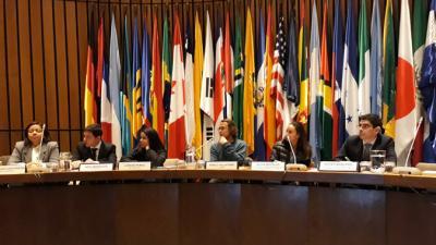 Panel del seminario encabezado por Xavier Mancero, Jefe de la Unidad de Estadísticas Sociales de la División de Estadísticas de la CEPAL y Silvia Botello, Coordinadora del Grupo de Pobreza del Departamento Administrativo Nacional de Estadísticas (DANE) de Colombia.