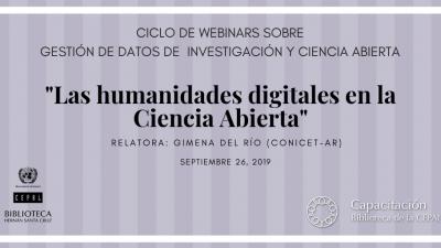 Webinar Las Humanidades Digitales en la Ciencia Abierta