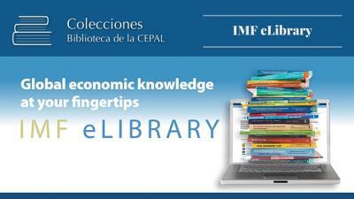 Logo biblioteca electrónica del FMI, publicaciones apiladas sobre una laptop