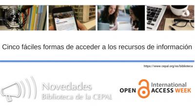 Banner OAWeek y biblioteca de la CEPAL