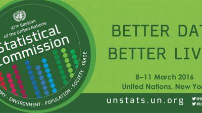 Banner del 47 período de sesiones de la Comisión Estadística.
