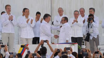 Firma del acuerdo de paz en Colombia