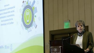 La Secretaria Ejecutiva de la CEPAL, Alicia Bárcena, durante un seminario sobre información geoespacial para el desarrollo social, ambiental y económico de los países de las Américas y el Caribe.