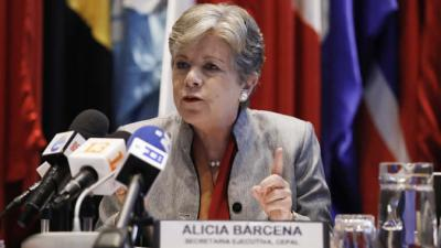 Alicia Bárcena, ECLAC Executive Secretary, during the presentation of the report Social Panorama of Latin America 2019