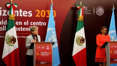 foto de Alicia Bárcena, Secretaria Ejecutiva de la CEPAL y Claudia Ruiz Massieu, Secretaria de Relaciones Exteriores de México.