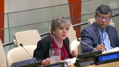 Alicia Bárcena, Secretaria Ejecutiva de la CEPAL, durante su presentación en la reunión del ECOSOC.