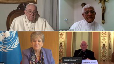 Foto de la transmisión del seminario sobre América Latina, organizado por el Vaticano