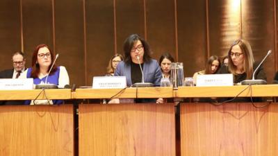 From left to right: Janet Camilo, the Dominican Republic's Minister of Women and Vice President of the Presiding Officers; Cielo Morales, Chief of ECLAC's Latin American and Caribbean Institute for Economic and Social Planning (ILPES); and Isabel Plá, Chile's Minister of Women and Gender Equity.