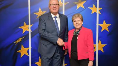 Neven Mimica, the European Union Commissioner in charge of International Cooperation and Development, and Alicia Bárcena, Executive Secretary of ECLAC, met in Brussels.