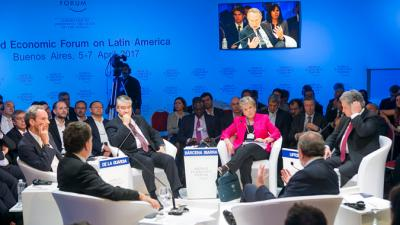 Alicia Bárcena, Executive Secretary of ECLAC, during The Economic Outlook for Latin America panel.