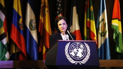 foto de Isabel de Saint Malo de Alvarado, Vicepresidenta y Ministra de Relaciones Exteriores de Panamá, durante su conferencia magistral en la sede de la CEPAL.