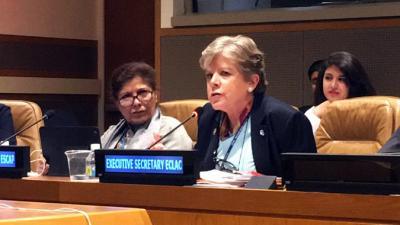 La Secretaria Ejecutiva de la CEPAL, Alicia Bárcena, durante su intervención en el encuentro sobre las comisiones regionales de la ONU.