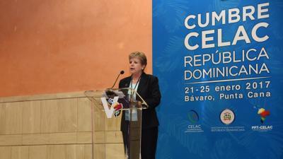 La Secretaria Ejecutiva de la CEPAL, Alicia Bárcena, durante su presentación en la XIII Reunión de Ministros de Relaciones Exteriores de la CELAC.