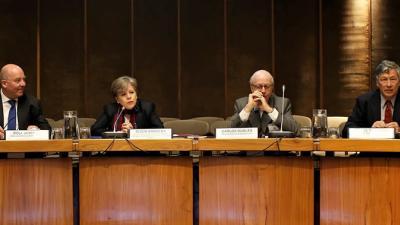 El Embajador de Alemania, Rolf Peter Schulze, la Secretaria Ejecutiva de la CEPAL, Alicia Bárcena, el Embajador de España, Carlos Robles Fraga, y el Director de la División de Desarrollo Económico de la CEPAL, Daniel Titelman