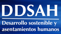 Imagen con las iniciales de la División de Desarrollo Sostenible y Asentamientos Humanos (DDSAH)
