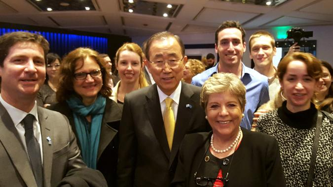 Ban Ki-moon junto a Alicia Bárcena y Martín Abeles.
