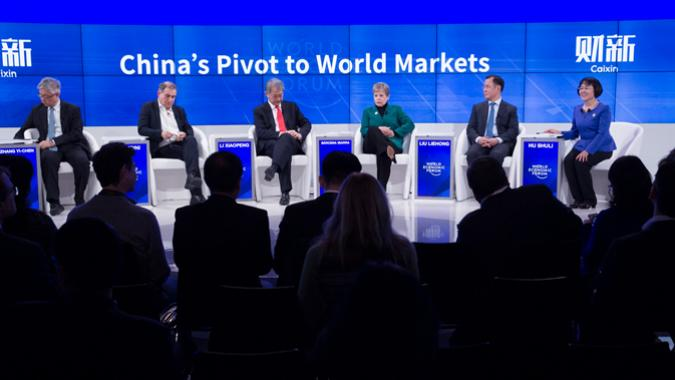 Panel del WEF en el que participó la Secretaria Ejecutiva (cuarta por la izquierda).
