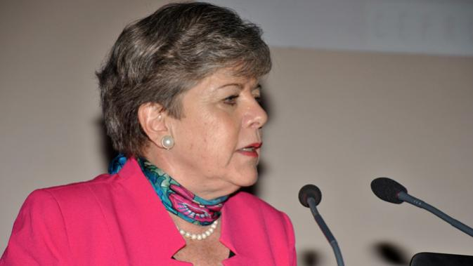 Alicia Bárcena, Executive Secretary of ECLAC, during the presentation of the report.