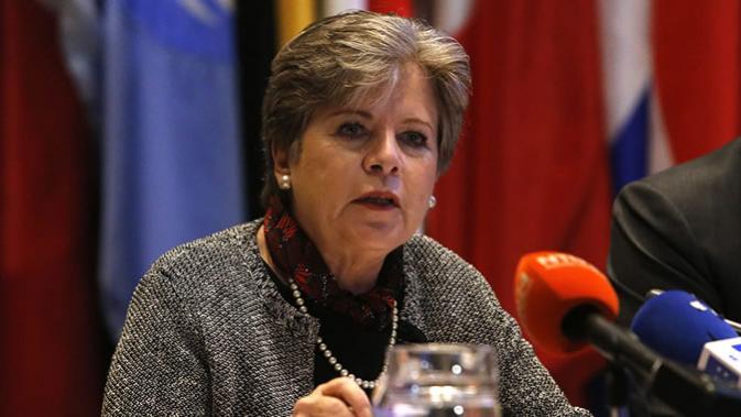 Alicia Bárcena, Secretária Executiva da CEPAL, durante a apresentação do relatório.