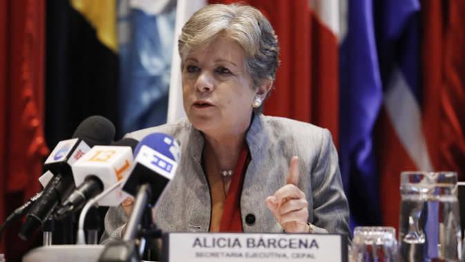 Alicia Bárcena, Secretaria Ejecutiva de la CEPAL, durante la presentación del informe Panorama Social de América Latina 2019
