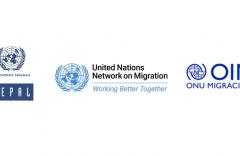 de izquerda a derecha: Logo de la CEPAL, United Nations Network on Migration y Organización Internacional para la Migración