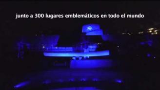 El edificio de la CEPAL se tiñe de azul para celebrar los 70 años de la ONU
