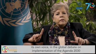 Message by Alicia Bárcena inviting people to follow Forum on Sustainable Development