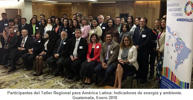 Participantes del Taller Regional para América Latina: Indicadores de energía y ambiente. Guatemala, Enero 2018
